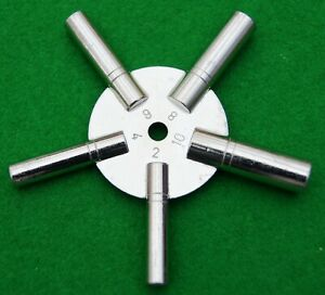 Clock Star Spider Winding Key Solid Brass,  Winder Prong Tool, Even numbers