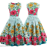 Women's Floral Bees Vintage 1950s Rockabilly Evening Party Swing Classy Dress