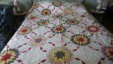Antique Pieced QUILT Early Fabrics, Calico, Sunburst & Crescents