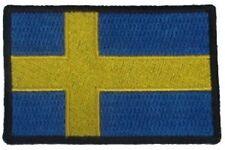 "(A12) SWEDEN FLAG 3"" x 2"" iron on patch (5174) Biker"