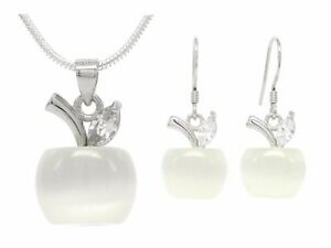 Ladies white apple moonstone jewellery set 925 sterling silver with gift box
