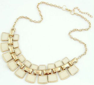 Lady Gold Chain White/White Stones Pendant Chunky Charm Pendant Necklace