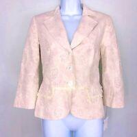 Worth Women Jacket sz 2 Cream Pink Floral Blazer Linen Career Classic New AZ44