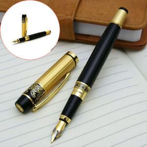 HERO 901 Medium Nib Fountain Pen Luxury Black Gold Stainless Steel Writing Gift