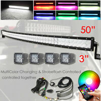 "50"" Curved LED Light Bar + 4x 3"" Pods RGB Wireless Bluetooth Control Truck ATV"