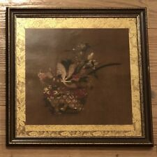 Vtg framed metallic lithograph Basket Of Flowers 15th C artist Tosa Mitsuoki