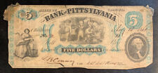1861 $5 THE BANK OF PITTSYLVANIA CHATHAM, VIRGINIA OBSOLETE CURRENCY NOTE
