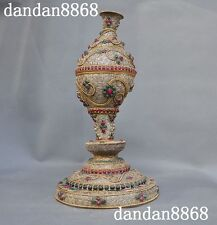 """6""""Old Tibetan temple Silver Filigree Inlay Gem Conch Trumpet Horn Statue"""