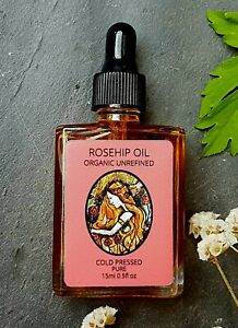 Certified 100% Organic Rosehip Oil 15ml Cold Pressed Anti-Aging Facial Oil Glass