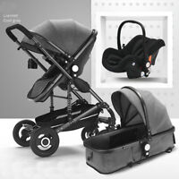 Baby Stroller Foldable safety High View Bassinet Car Seat 3in1 Pushchairs Black