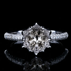 Solid 10K WhiteGold Round 7-8mm 0.39ct Diamonds SI-SI3/H Semi Mount Setting