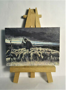 Shepherd flock of Sheep ACEO Original PAINTING by Ray Dicken a Vincent van Gogh