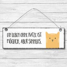 KATZE Dekoschild Holz Wand Tür Schild Shabby Chic Geschenk Landhaus Vintage