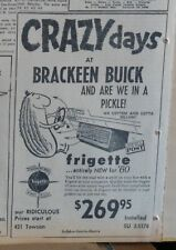1960 newspaper ad for Frigette car air conditioner - Pickle drives cooled car