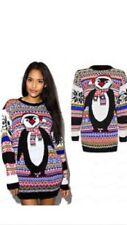 Ladies Women Men XMAS Penguin Party Novelty Sweater Plus Size Christmas Jumpers