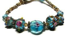 Art Glass Bracelet Art Bead Lampwork Toggle Clasp Spring Floral Blue Pink