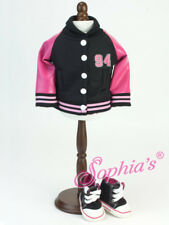 """Hot Pink & Black """"94"""" Varsity Jacket - 18 Inch Doll Clothes - Fits American Girl"""