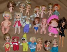 Vintage Lot of 21 Small Tiny Miniature Rubber Mixed Dolls Kiddle Unmarked Beans