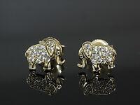 585 Gold kleine Elefanten Ohrstecker 8 mm x 6 mm Grösse 1 Paar mit Zirkonia