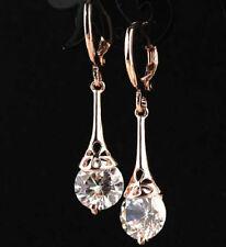 18K Rose Gold Plated Hoop CZ Cristallo, Fiore Goccia Dangle Earrings