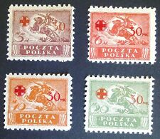 POLAND STAMPS MLH Fi121-124a ScB11-14 Mi154-57- Overprint Red Cross, 1921,hinged