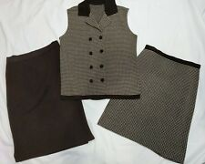 Brown Wool Sleeveless Button Up Top 2 Skirts, Patterned and Solid Union Tag Med