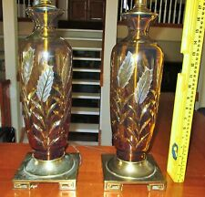 Moser Bohemian Etched cut to Clear Amber Glass Crystal Vase Lamp Large Pair Rare