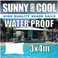 WATERPROOF SHADE SAIL 4Mx3Mx4Mx3M RECTANGLE IN CREAM, 3mx4m,3x4m