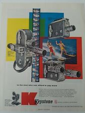 1957 Keystone A-15 K-51 K-56 k161M movie camera water skiing skiers ad