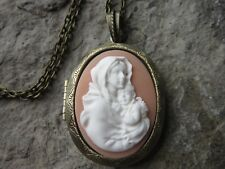 VIRGIN MARY AND BABY JESUS CAMEO BRONZE LOCKET - RELIGIOUS - QUALITY