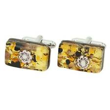 GlassOfVenice Murano Glass Venetian Classic Rectangular Cufflinks - Topaz Gold