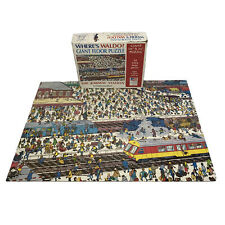 "Vintage 1991 Where's Waldo 24 Piece Giant Floor Puzzle Railway Station 18"" x 24"""