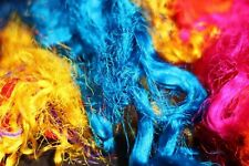 200g Throwster Recycled Sari Silk Multi-color Fiber Waste for Spinning Felting