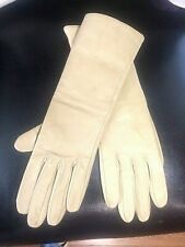 Authentic Hermes Paris beige nude leather gloves zipped size S  pre-owned