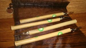 """#4 Natural Wood BAMBOO Roach Clip's 6 1/2""""in Marijuana leaf Decal image + Pouch"""
