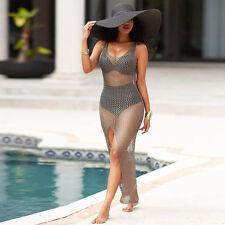 Women Crochet Hollow Out Beach Bikini Cover Up Swimsuit Bathing Swimwear Dress