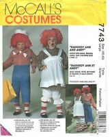 Vintage 1995 McCall's 7743 size L 40 42 costumes Raggedy Ann and Andy uncut