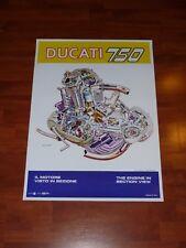 Ducati 750 Round Case Engine Poster bevel twin gt sport taglioni bologna