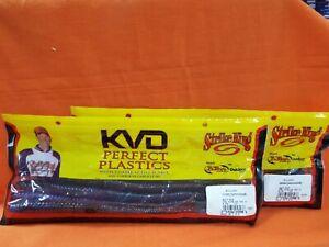 "STRIKE KING KVD Bull Worm (10"")(2 pks) #BW10-809 TEQUILA SUNRISE ORANGE FLECK"