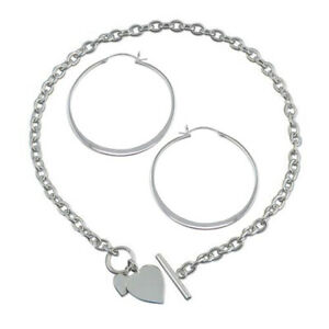 Large Flat Creole Hoop Earrings & Double Heart Tag Necklace Sterling Silver