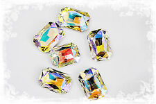 CRYSTAL AB RECTANGLE RHINESTONE 28X18MM PAGEANT BROOCH STONES  6 COUNT