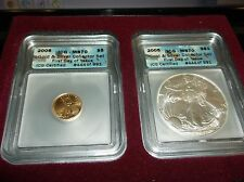 2005 Gold & Silver Eagle Collector Set First Day Of Issue MS70 ICG - WC N1 LOO
