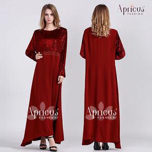 Abaya Jalabiya Wedding Prom Floral Velvet Winter Long Sleeve Maxi Dress Size L