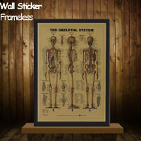Vintage Retro The Skeletal System Poster Kraft Paper Poster Bar Cafe Wall Decor