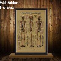 Vintage Retro The Skeletal System Poster Kraft Paper Poster Bar Cafe Wall Decor