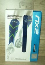 2XU Men's Compression Performance Run Socks Navy/Green LARGE