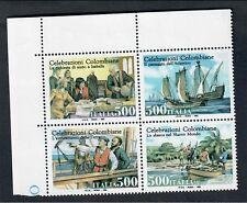 ITALIA 1992 celebrazioni colombiane 500 lire x 4 blocco NUOVI ** fra.962