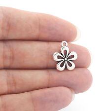 20 x Tibetan Silver Open Flower Charms Pendants Findings for Jewellery Making