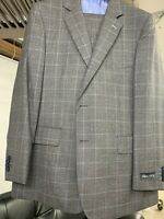 New 42R Men's Grey Blue Box Suit 100% Wool Super 120 Made in Italy Ret/$1295