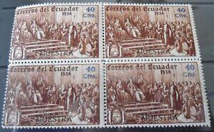 Ecuador 1936 40 Ctvs Specimen Block of Four    Mint